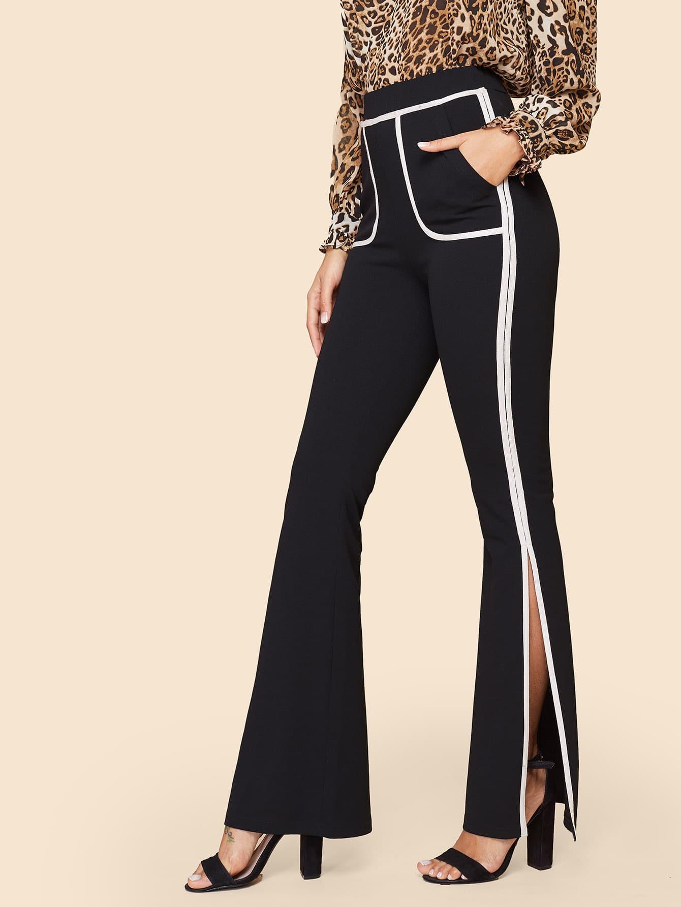 60s брюки с контрастной отделкой и разрезом thumbnail