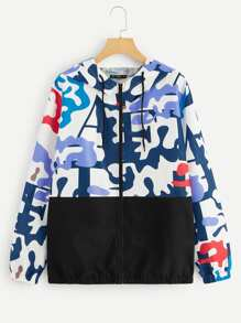 Plus Colorblock Camo Print Hooded Jacket