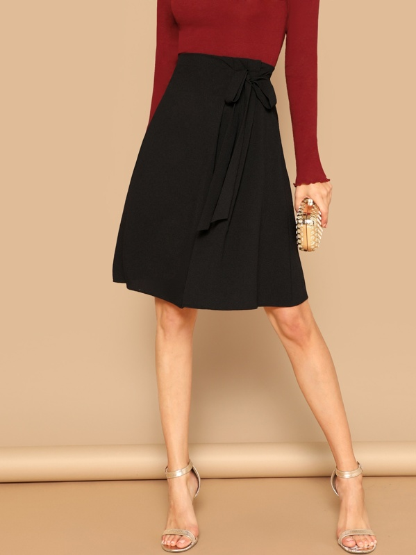 Knot Side Solid Skirt by Shein