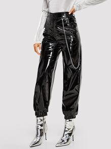 Button Front Patent Leather Tapered Utility Pants
