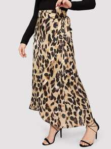 Plus Leopard Print Wrap Knotted Skirt