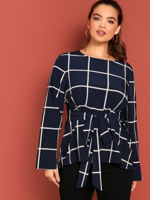 Plus Self Belted Grid Blouse