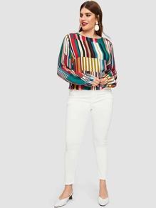 6f665aa567b91d Cheap Plus Striped Curved Hem Blouse for sale Australia | SHEIN