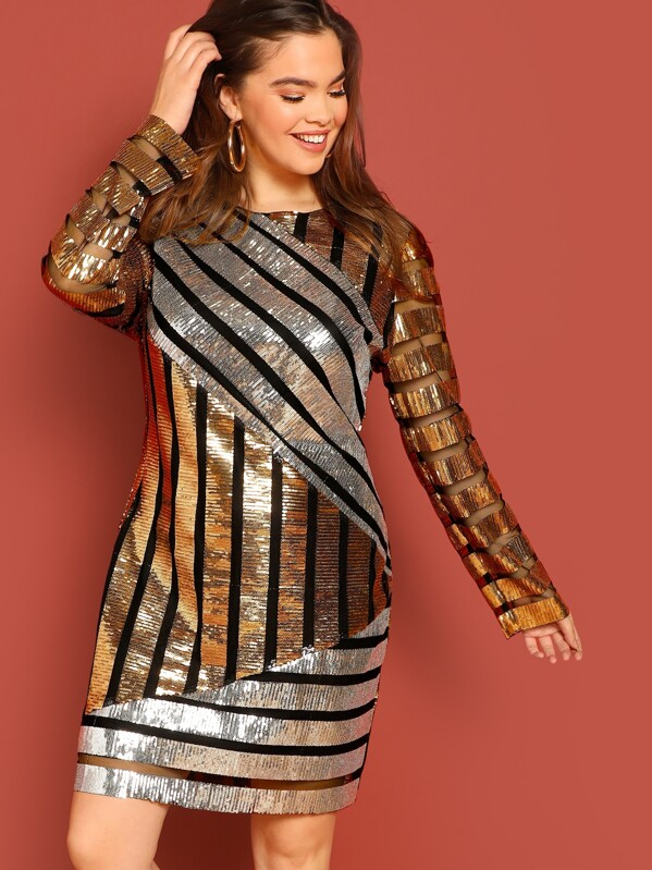Plus Mixed Stripe Sequin Dress