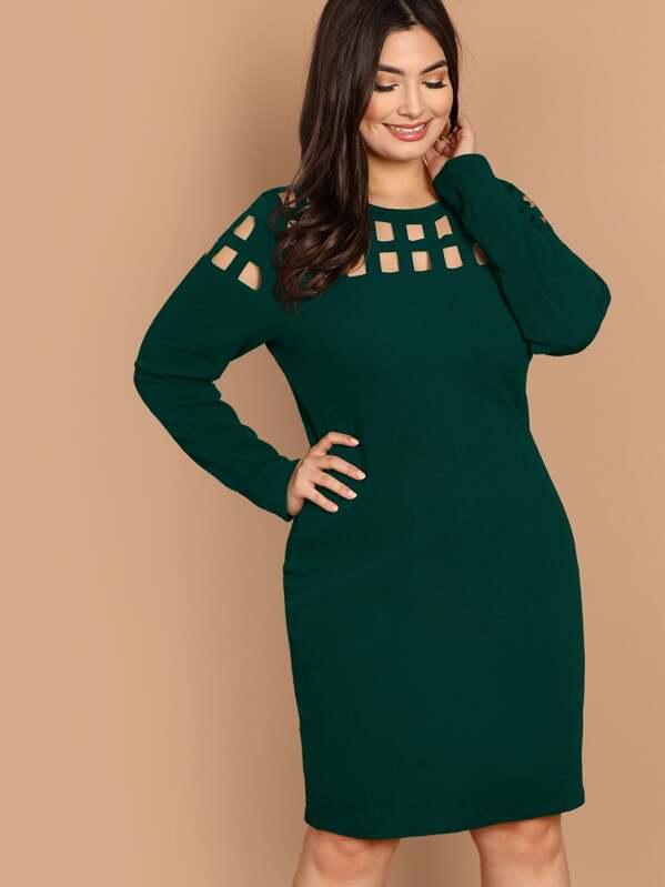 d138c1b70a Vestidos Tallas Grandes Cut-out Liso Verde Elegante