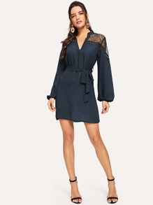 Mesh Insert V Neck Belted Dress