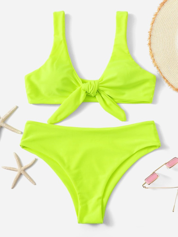 f67fff7c8a Neon Lime Knot Front Top With Panty Bikini | SHEIN