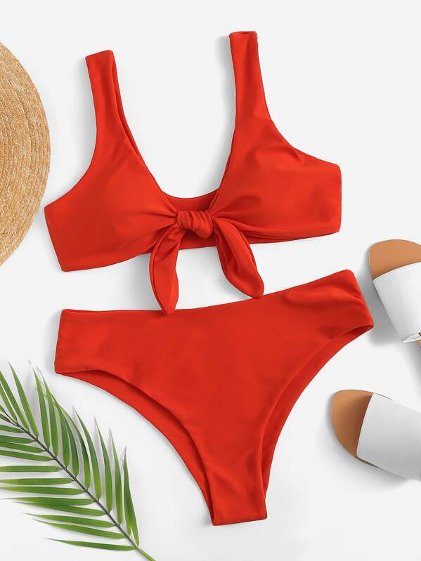 f4bacde6bd Knot Front Plunging Top With Panty Bikini | SHEIN