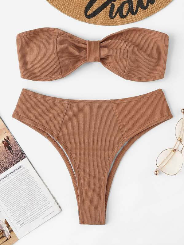 High With Bikini Set Bandeau Ribbed Cut nwv8m0ON