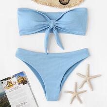 Ribbed Bandeau With Panty Bikini Set