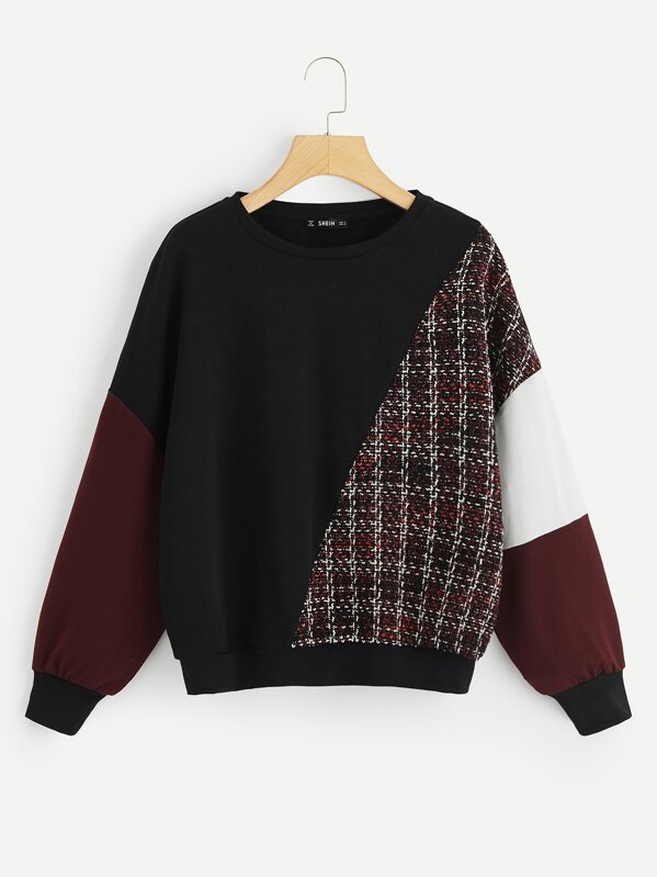 Tweed Panel Cut And Sew Pullover by Shein