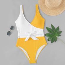 Two Tone Belted One Piece Swimwear