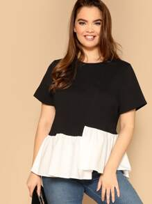 Plus Two-tone Asymmetrical Hem Top