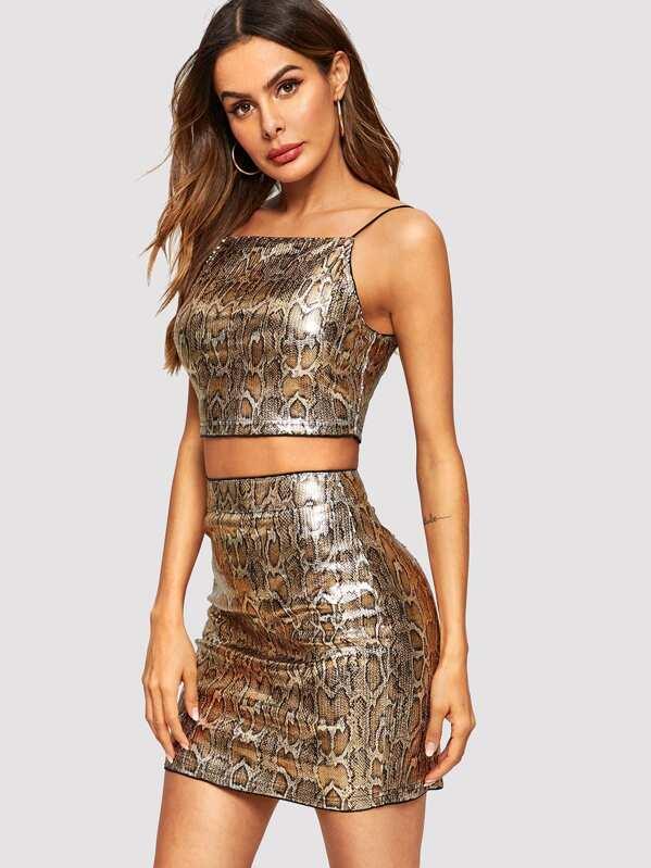 06243d7e72c793 Leopard Print Crop Cami Top   Skirt Set
