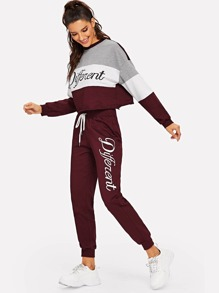 Cut and Sew Letter Print Pullover & Sweatpants Set