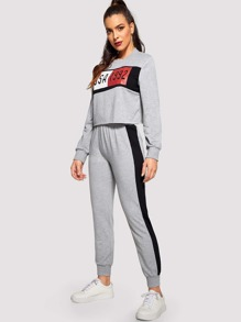 Letter Print Raw Hem Top and Colorblock Sweatpants Set
