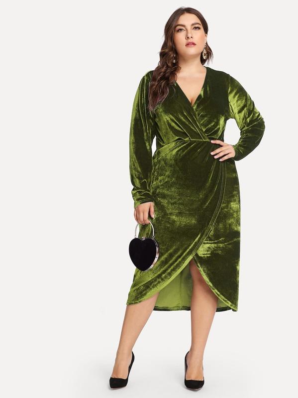 mejor lugar diseño popular mejor selección de Vestidos Tallas Grandes Envolvente Liso Verde Fiesta