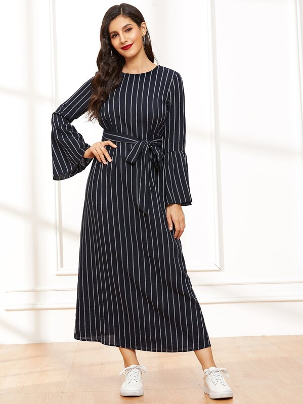 87ab2a09e7 Bell Sleeve Self Belted Striped Hijab Dress | SHEIN