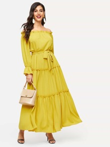 Off Shoulder Frill Trim Self Belted Dress