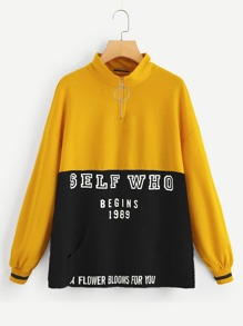 Half Zip Placket Color-block Letter Pullover