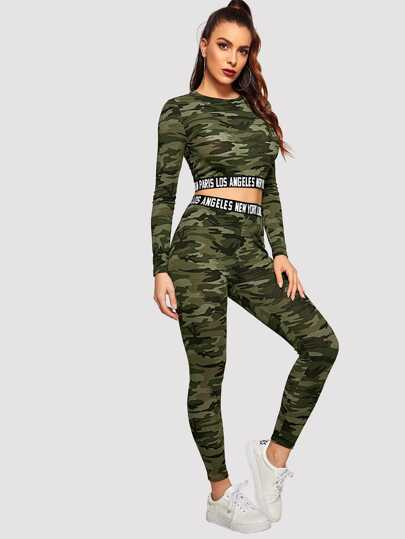 a72c77a83d36 Contrast Letter Tape Camo Print Crop Tee & Leggings Set
