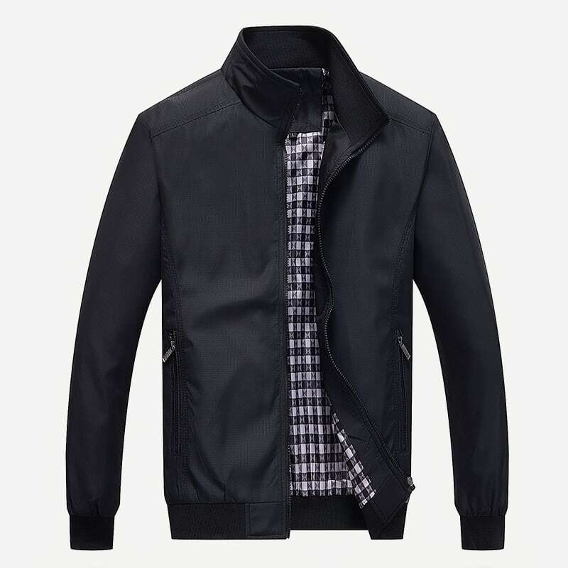 Men Stand Collar Solid Jacket, SHEIN  - buy with discount