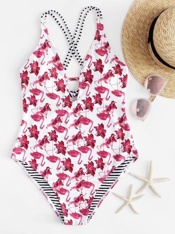3e9352c8d7df2 Flamingo Print Cross Back One Piece Swimsuit