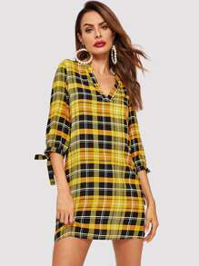 V-placket Knot Cuff Plaid Tunic Dress