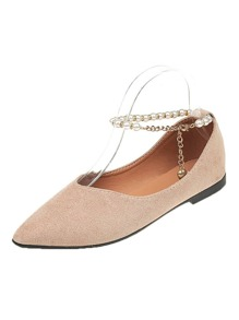 Point Toe Suede Ankle Strap Flats