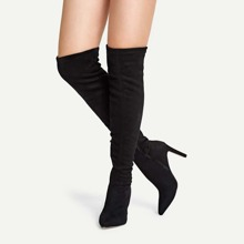 Solid Suede Knee Length Boots