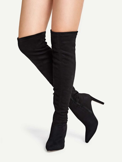 6789ff622485 Solid Suede Knee Length Boots