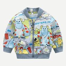 Toddler Boys Cartoon & Letter Print Jacket