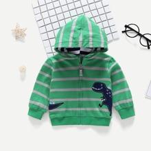 Toddler Boys Dinosaur Pattern Striped Hooded Jacket