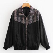 Contrast Snakeskin Print Zip-up Jacket