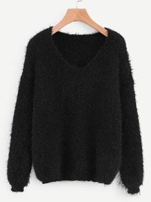 V-neck Solid Fuzzy Jumper