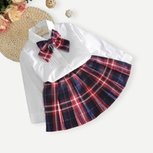 Girls Solid Blouse & Plaid Skirt