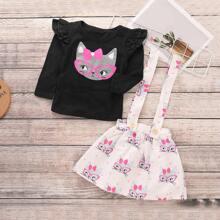 Toddler Girls Frill Trim Tee & Pinafore Skirt