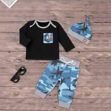 Toddler Boys Camo Print Tee & Pants & Hat