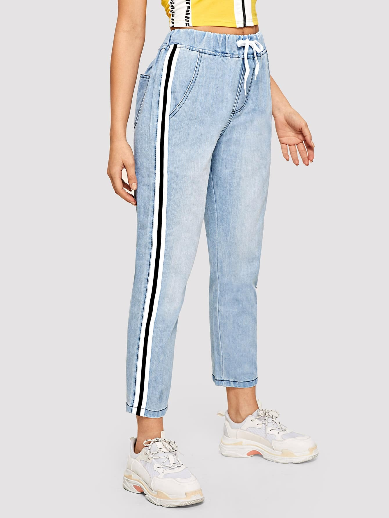 Tape Detail Drawstring Waist Jeans Tape Detail Drawstring Waist Jeans