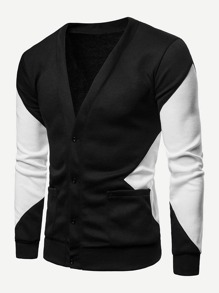 Men Cut And Sew Panel V Neck Sweater Coat