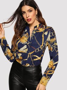 Chain Print V Neck  Blouse