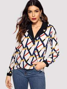 Colorful Striped Curved Hem Blouse