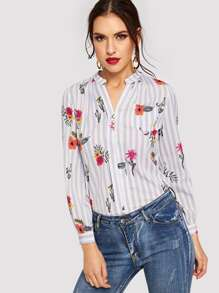 Floral Print Button Decoration Striped Blouse