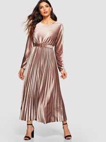 Velvet Belt Pleated Longline Dress