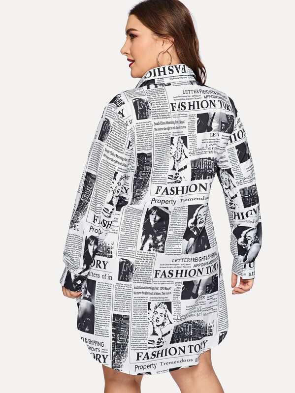 64991191d Plus Newspaper Print Curved Hem Shirt Dress   SHEIN