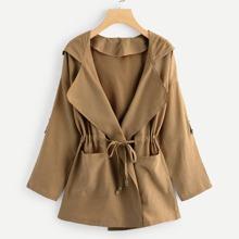 Image of Plus Drawstring Waist Hooded Coat