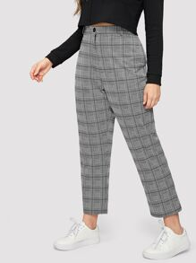 Plus Plaid Pocket Side Pants