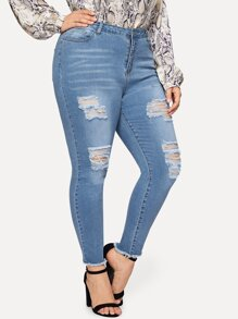 Plus Ladder Distressed Jeans