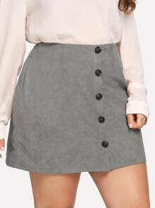 Plus Button Front Suede Skirt