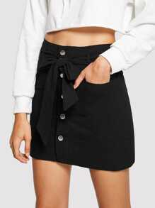 Dual Pocket Button Front Belted Skirt